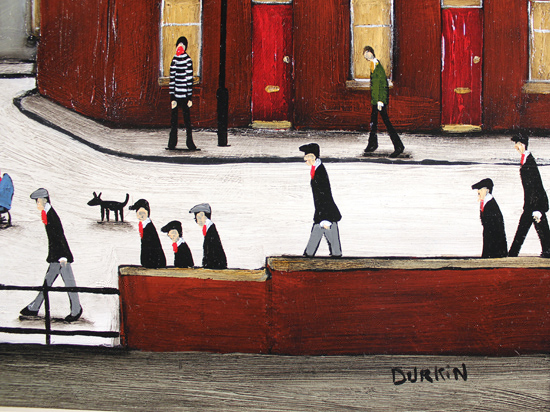 Sean Durkin, Original oil painting on panel, The Town Square Signature image. Click to enlarge