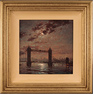 Andrew Grant Kurtis, Original oil painting on panel, Moonlight Sparkle over Tower Bridge, London