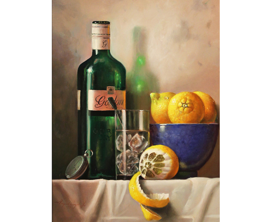 Raymond Campbell, Gin and Tonic Time, Original oil painting on panel