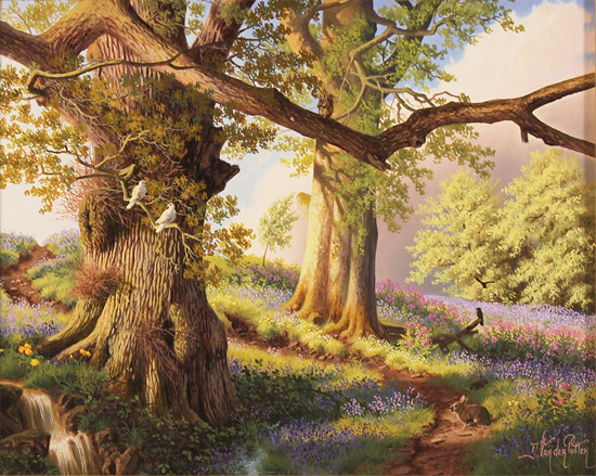 Daniel Van Der Putten, Original oil painting on panel, Spring on the Edge of Badby woods, Northamptonshire No frame image. Click to enlarge