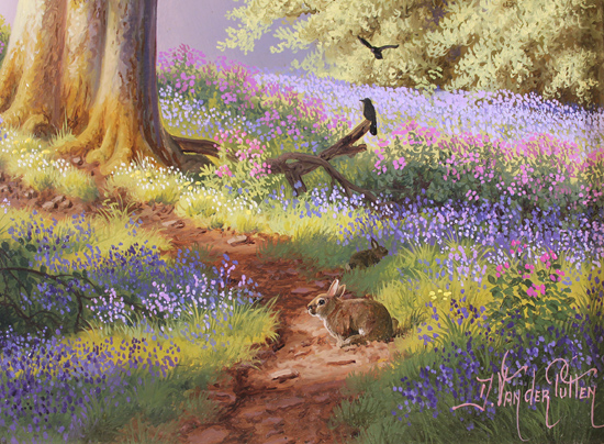 Daniel Van Der Putten, Original oil painting on panel, Spring on the Edge of Badby woods, Northamptonshire Signature image. Click to enlarge
