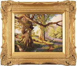 Daniel Van Der Putten, Original oil painting on panel, Spring on the Edge of Badby woods, Northamptonshire Medium image. Click to enlarge