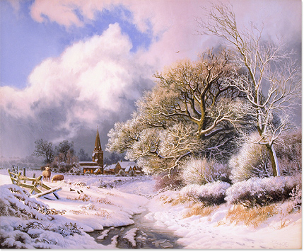 Daniel Van Der Putten, Original oil painting on panel, Newnham in Winter, Northamptonshire No frame image. Click to enlarge