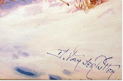 Daniel Van Der Putten, Original oil painting on panel, Newnham in Winter, Northamptonshire Signature image. Click to enlarge