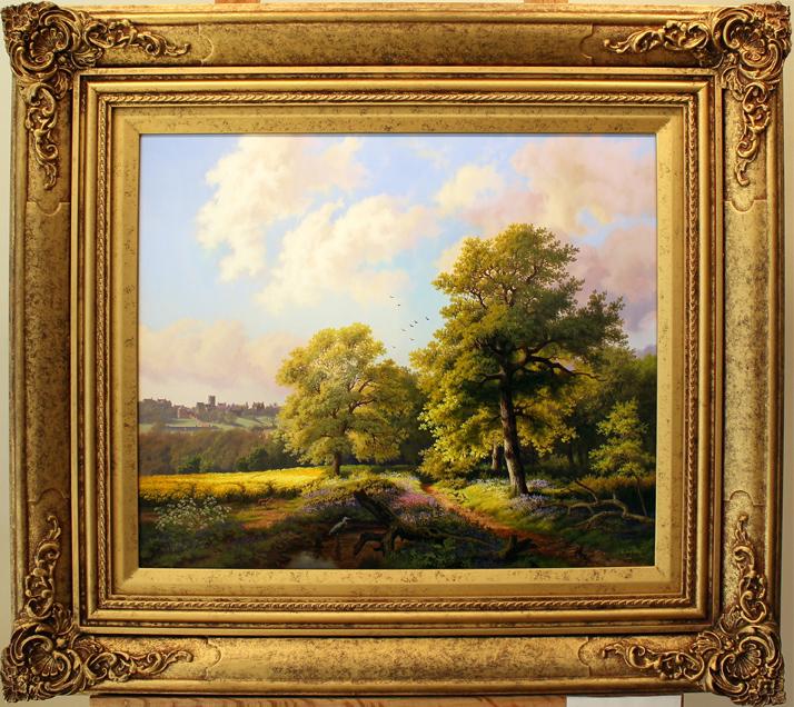 Daniel Van Der Putten, Original oil painting on panel, Bluebells at Mantels Heath, Preston Capes Click to enlarge