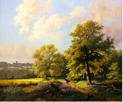 Daniel Van Der Putten, Original oil painting on panel, Bluebells at Mantels Heath, Preston Capes Signature image. Click to enlarge