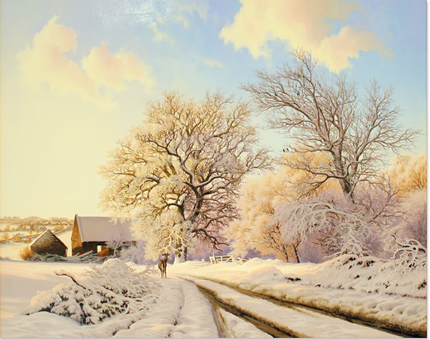 Daniel Van Der Putten, Original oil painting on panel, Lane to Farthingston Barn No frame image. Click to enlarge
