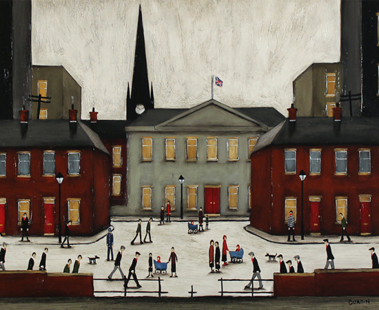 Sean Durkin, The Town Square, Original oil painting on panel