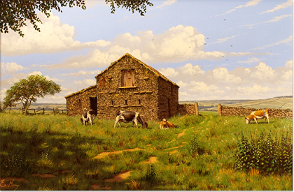 Edward Hersey, Original oil painting on canvas, Swaledale Farm No frame image. Click to enlarge