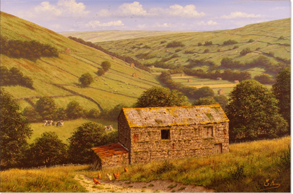 Edward Hersey, Original oil painting on canvas, Kisdon Valley, Swaledale (North Yorkshire) No frame image. Click to enlarge