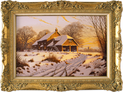 Edward Hersey, Original oil painting on canvas, Cotswolds Farm in Snow