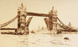Engraving, Hand coloured restrike engraving, London View, Tower Bridge