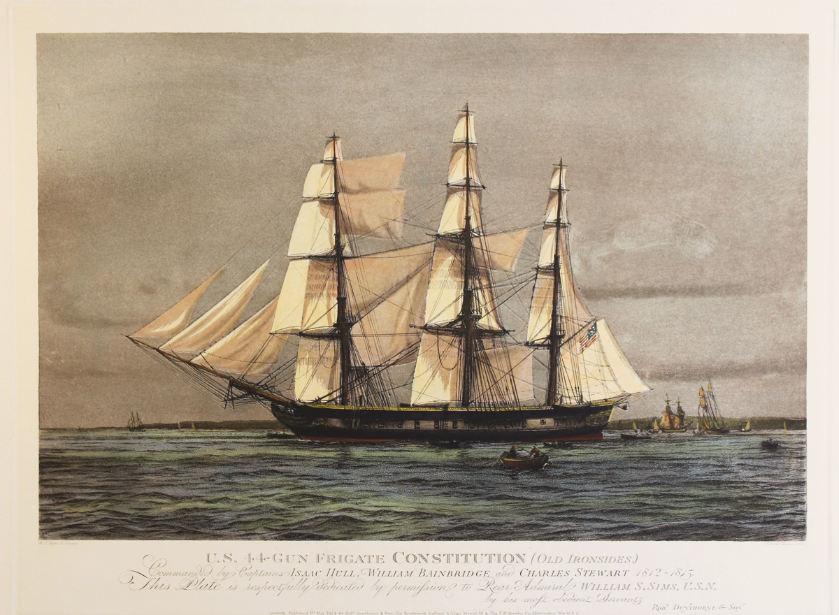 Engraving, Hand coloured restrike engraving, The Constitution (Old Ironsides) Click to enlarge
