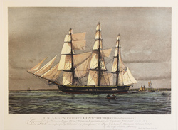 Engraving, Hand coloured restrike engraving, The Constitution (Old Ironsides)