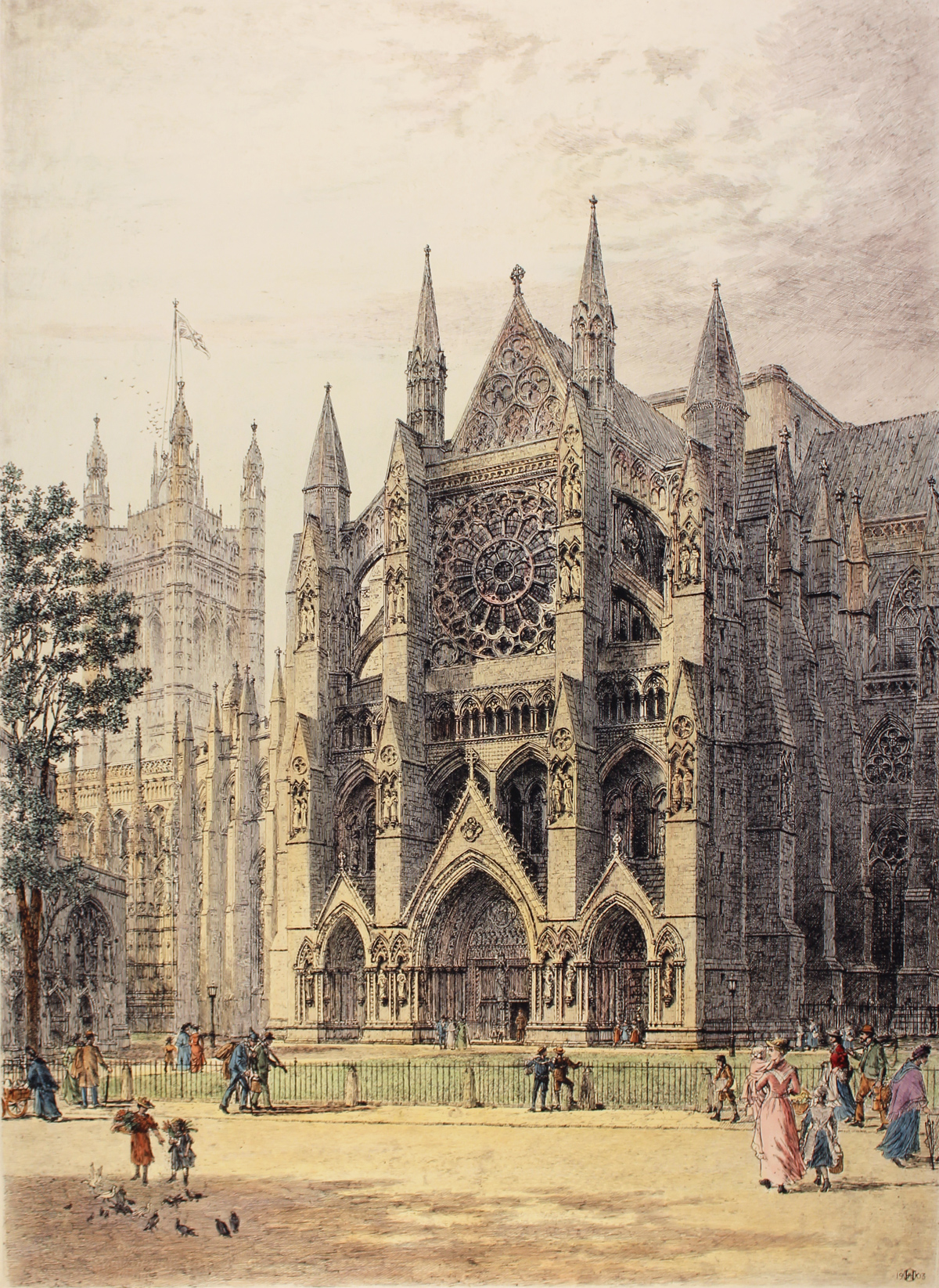 Engraving, Hand coloured restrike engraving, Westminster, North Porch Click to enlarge