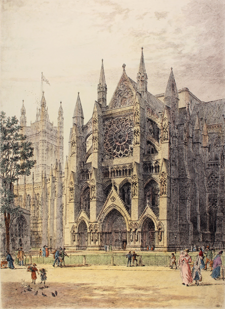 Engraving, Hand coloured restrike engraving, Westminster, North Porch No frame image. Click to enlarge