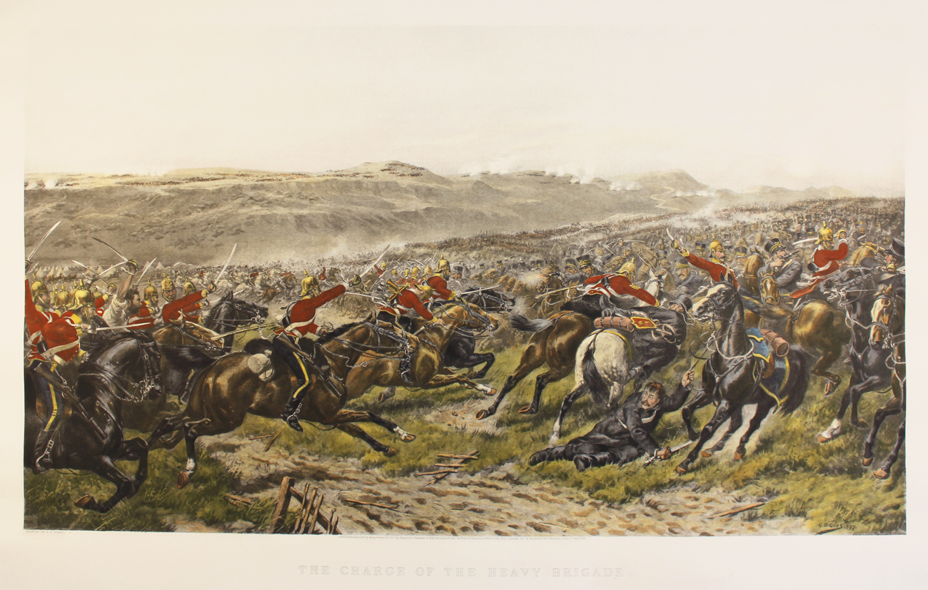 Engraving, Hand coloured restrike engraving, Charge of the Heavy Brigade Click to enlarge