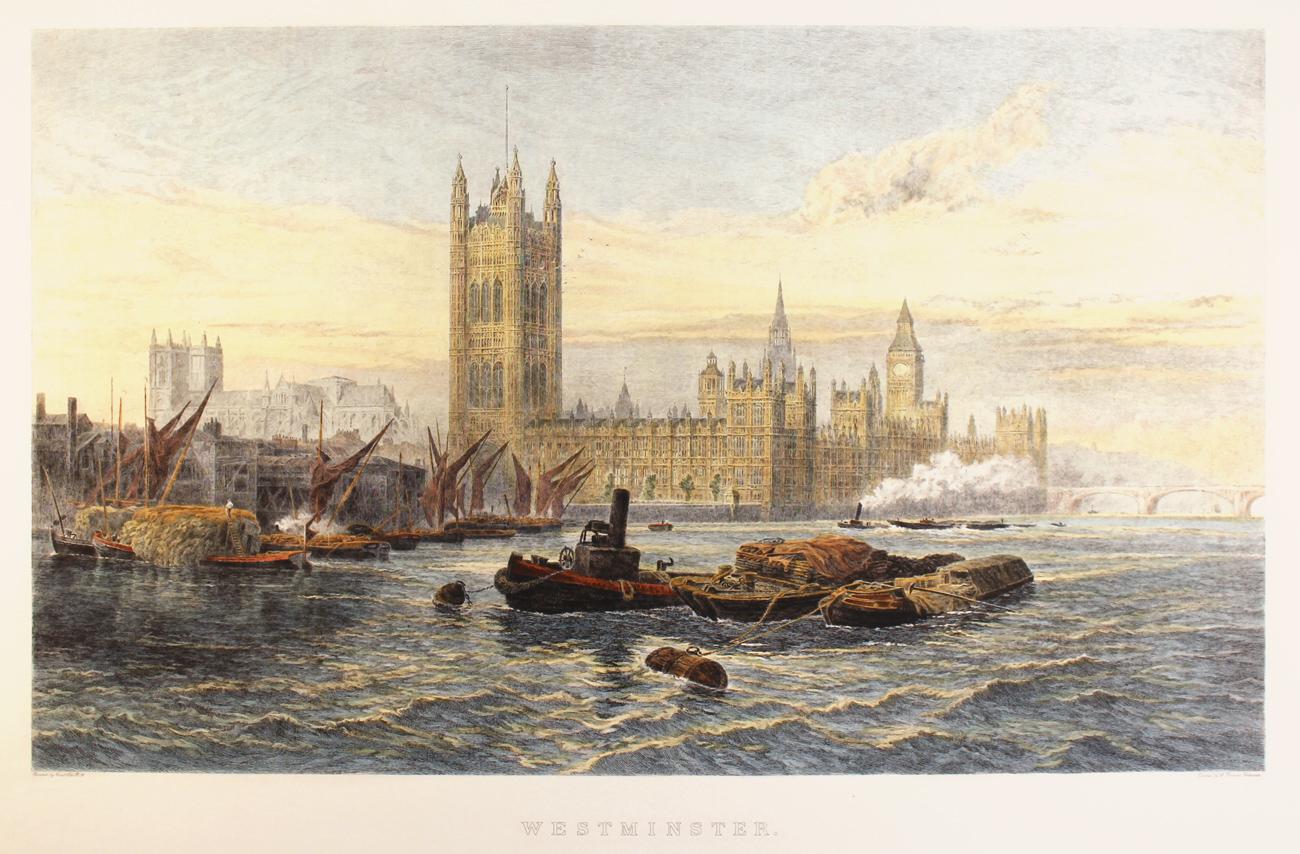 Engraving, Hand coloured restrike engraving, Westminster Click to enlarge