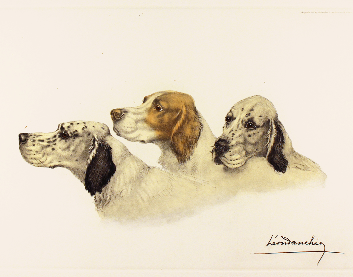 Engraving, Hand coloured restrike engraving, Three Setters Click to enlarge