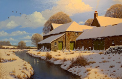 Edward Hersey, Original oil painting on canvas, Farm in Snow