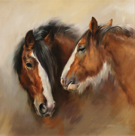 Jacqueline Stanhope, Original oil painting on canvas, Shire Horses No frame image. Click to enlarge