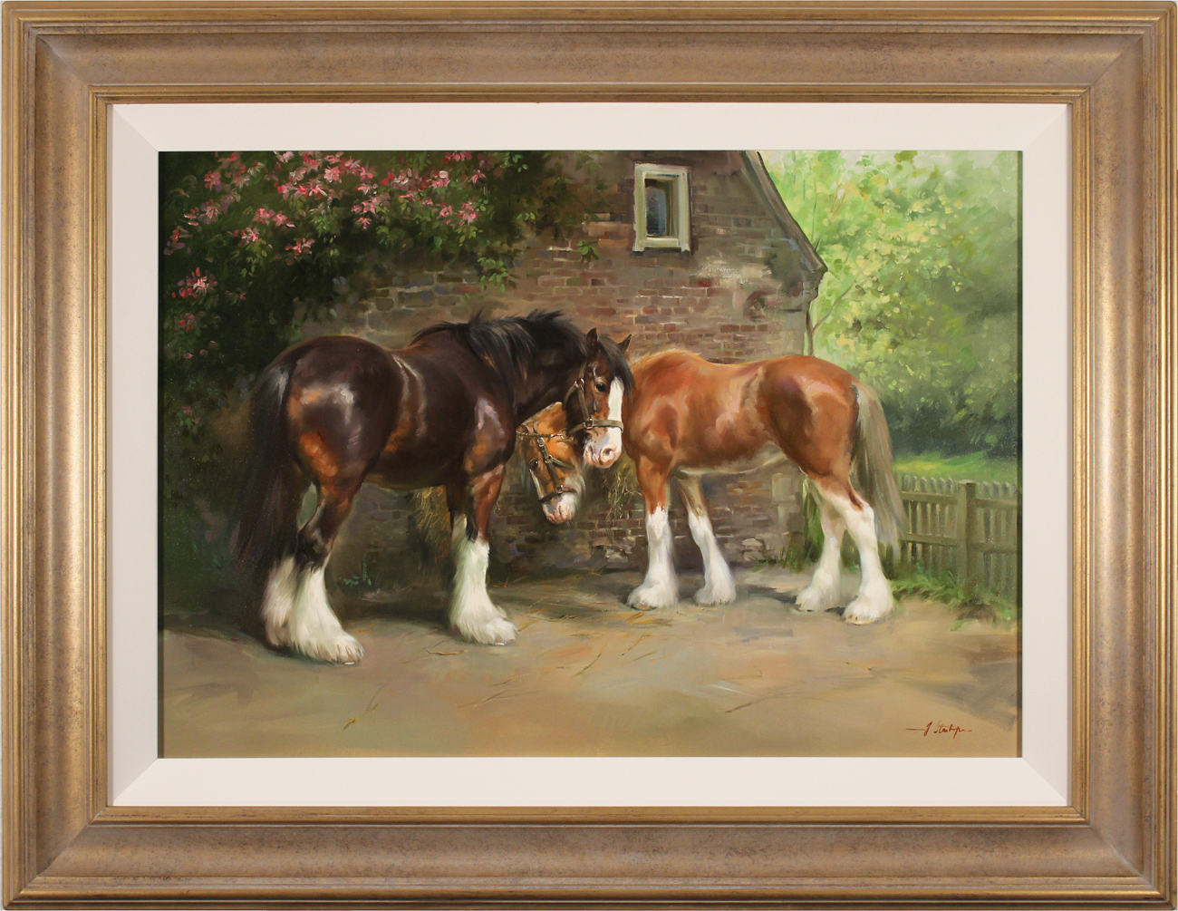 Jacqueline Stanhope, Original oil painting on canvas, Shire Horses in Spring Click to enlarge