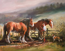 Jacqueline Stanhope, Signed limited edition print, Clydesdales and Rough Collie