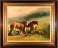 Jacqueline Stanhope, Original oil painting on canvas, Clydesdales and Rough Collie