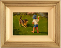 John Haskins, Original oil painting on panel, Fetch