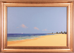John Wood, Original oil painting on canvas, Beach Scene
