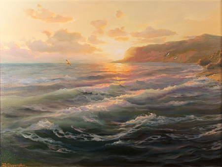 Juriy Ohremovich, Original oil painting on canvas, Sunset on the Sea No frame image. Click to enlarge