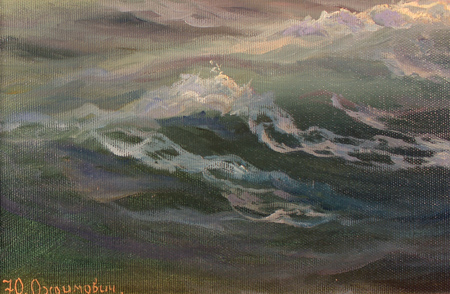 Juriy Ohremovich, Original oil painting on canvas, Sunset on the Sea Signature image. Click to enlarge