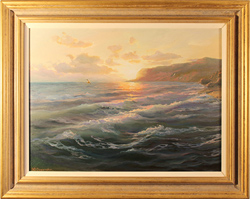 Juriy Ohremovich, Original oil painting on canvas, Sunset on the Sea