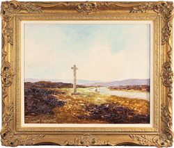 Lewis Creighton, Original oil painting on panel, Lastingham Cross, North Yorkshire