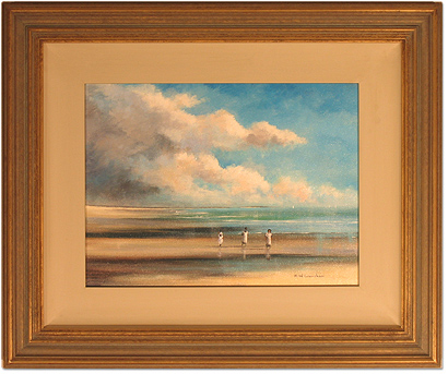 Maurice Crawshaw, Original oil painting on canvas, Children on the Beach