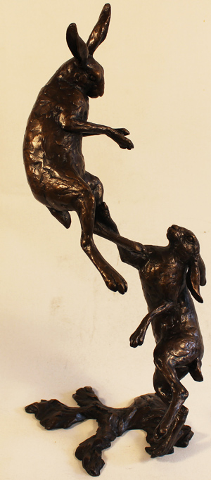 Michael Simpson, Bronze, Large Hares Boxing No frame image. Click to enlarge