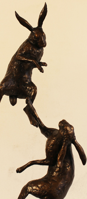 Michael Simpson, Bronze, Large Hares Boxing Signature image. Click to enlarge