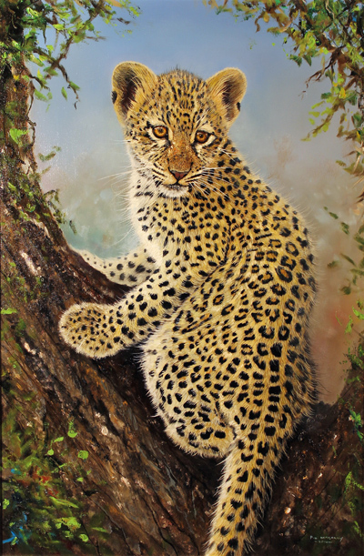 pip mcgarry original oil painting on canvas leopard cub