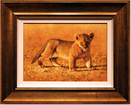 Pip McGarry, Original oil painting on canvas, Lion Cub, Serengetti