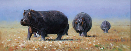 Pip McGarry, Original oil painting on canvas, Chobe River Hippos