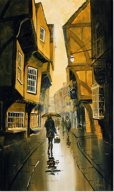 Richard Telford, Original oil painting on panel, The Shambles, York No frame image. Click to enlarge