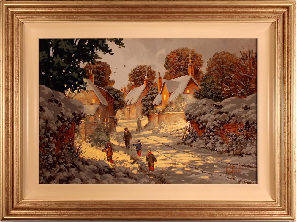 Richard Telford, Original oil painting on panel, Village Snow Scene Click to enlarge