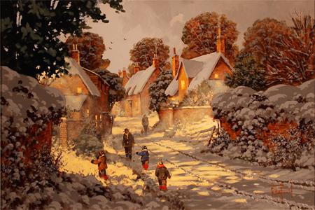 Richard Telford, Original oil painting on panel, Village Snow Scene No frame image. Click to enlarge