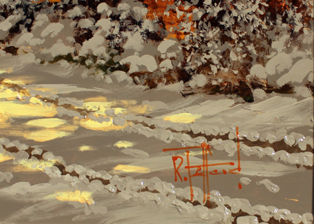 Richard Telford, Original oil painting on panel, Village Snow Scene Signature image. Click to enlarge