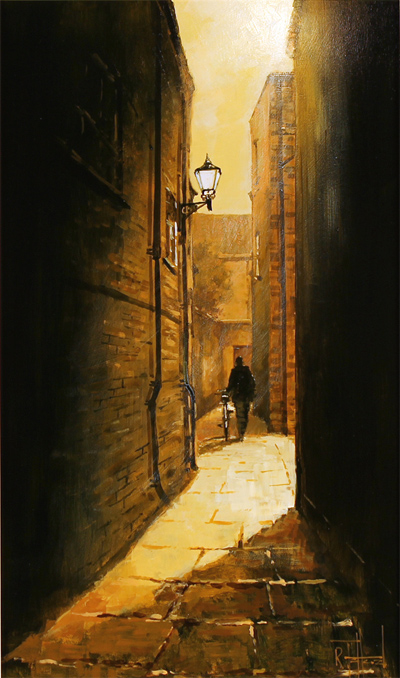 Richard Telford, Original oil painting on panel, Mad Alice Lane, York No frame image. Click to enlarge