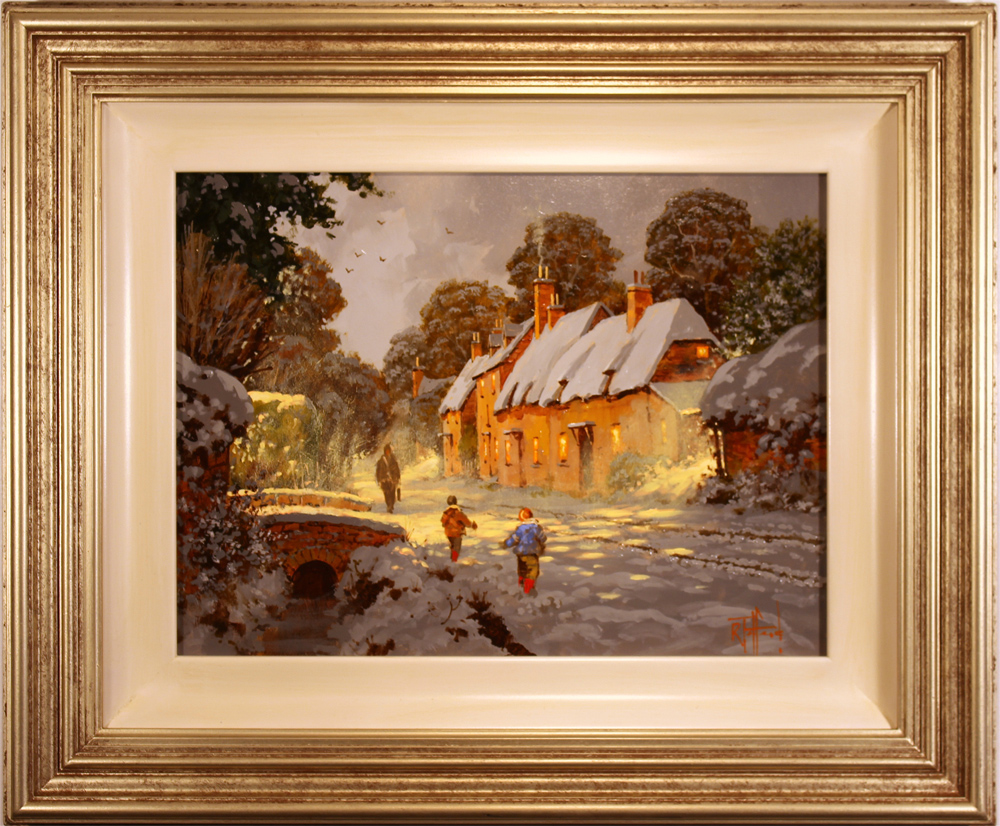 Richard Telford, Original oil painting on panel, Village Snow Scene Click to enlarge