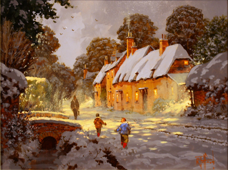 Richard Telford, Original oil painting on panel, Village Snow Scene No frame image. Click to enlarge