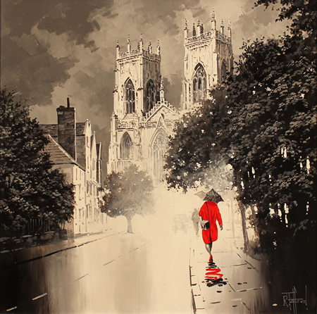 Richard Telford, Original oil painting on panel, Red Dress No frame image. Click to enlarge