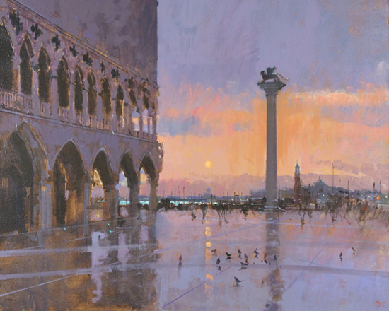 David Sawyer, RBA, Blood Orange Sky, Venice, Original oil painting on canvas