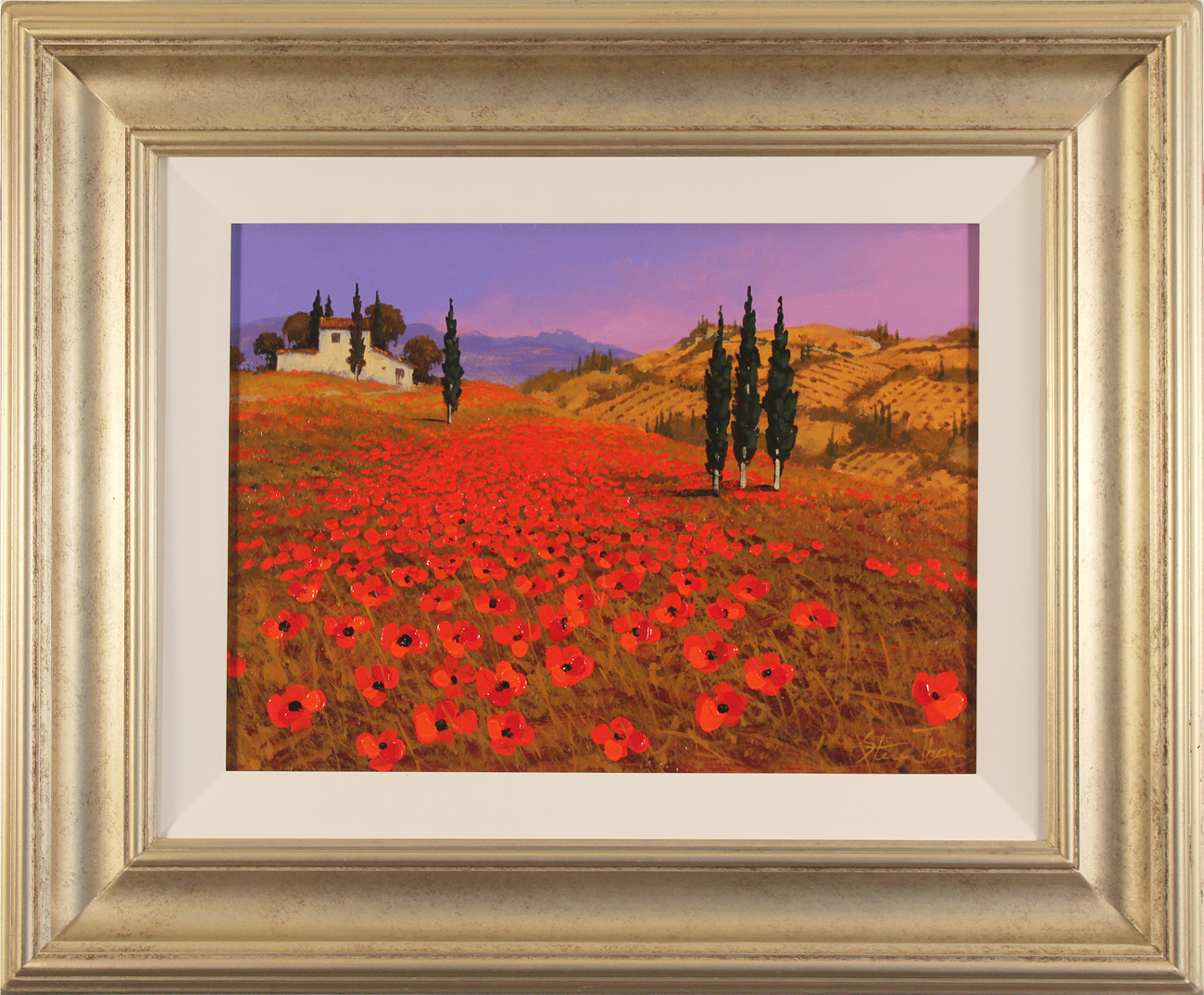 Steve Thoms, Original oil painting on panel, Tuscan Fields  Click to enlarge